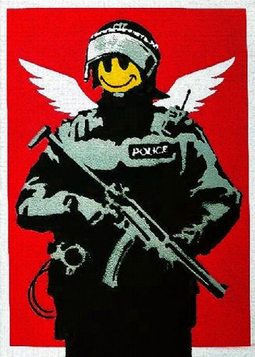 BANKSY - FLYING SQUAD - smiley cop red canvas print - self adhesive poster - photo print